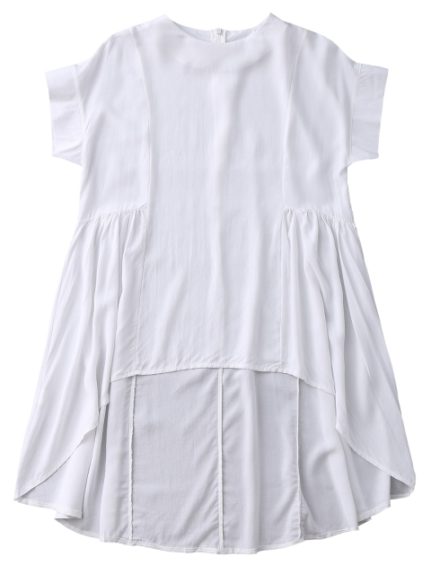 best High Low Skirted Flowy Top - WHITE S Mobile