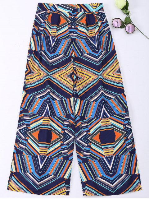 outfits Geometric Print Wide Leg Slit Bohemian Pants - COLORMIX S Mobile