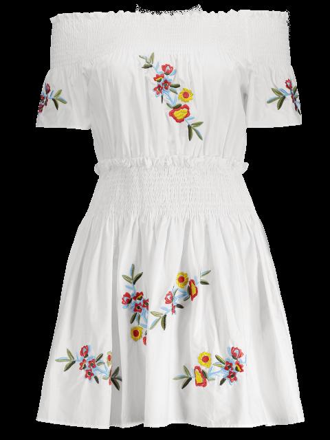 unique Floral Embroidered Smocked Off Shoulder Dress - WHITE L Mobile