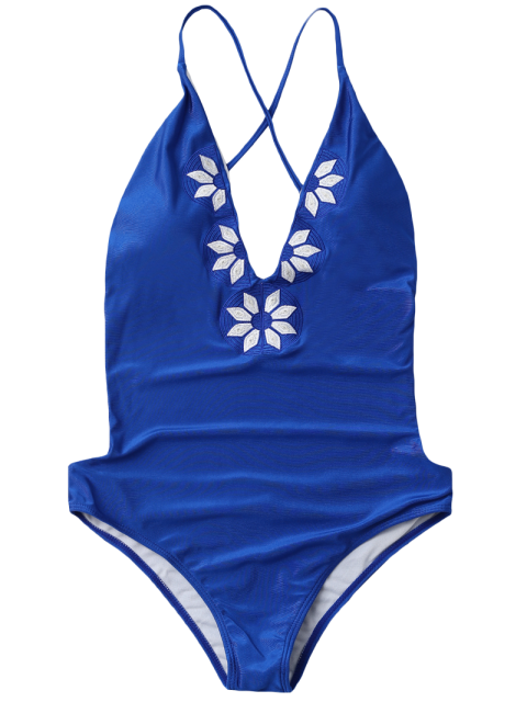 womens Embroidered Cami One Piece Swimwear - BLUE S Mobile