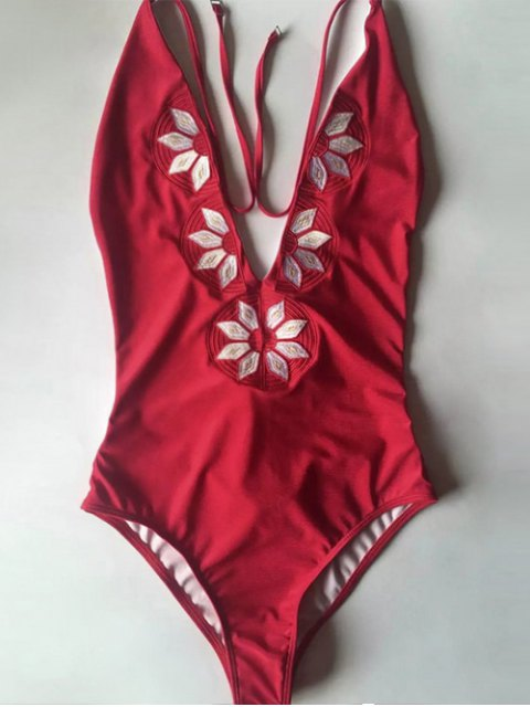 women Embroidered Cami One Piece Swimwear - RED XL Mobile