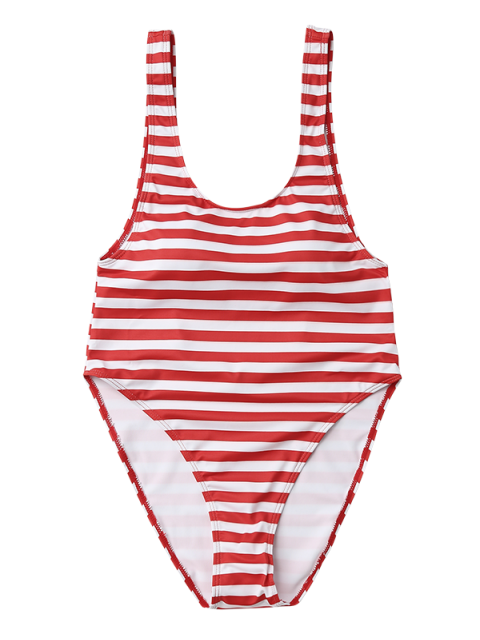 fancy Stripe Drop Armhole Swimsuit - RED WITH WHITE S Mobile