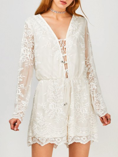Zaful Long Sleeve Lace Up Plunge Lace Romper
