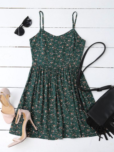 Cutout Tiny Floral Mini Dress - Blackish Green