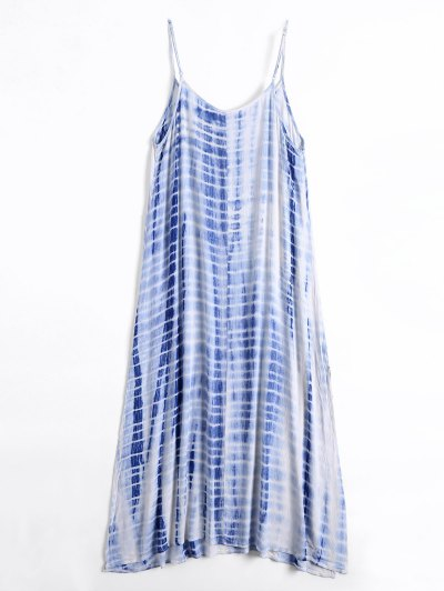 Teñido Anudado Vestido De Corte Beach - Azul