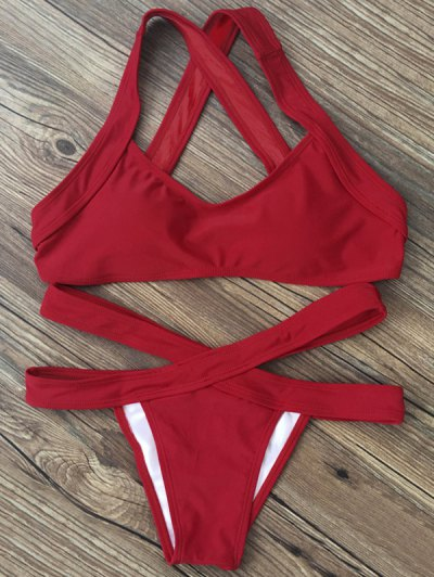 Color Block Banded Swimsuit - Red