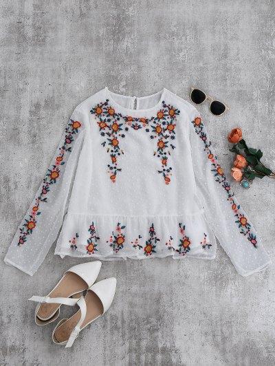 الكشكشة الأزهار مطرز بلوزة - أبيض M