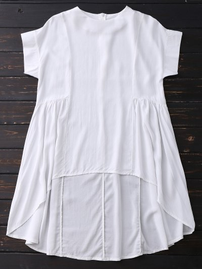 High Low Skirted Flowy Top - White