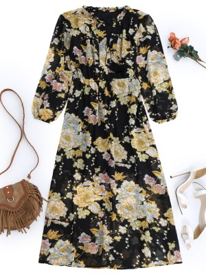 Fringed Floral Maxi Dress - Black