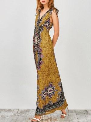 Maxi Print Plunge Bohemian Dress - Earthy