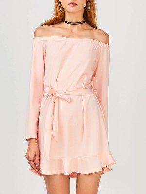 Off Shoulder Ruffle Hem Long Sleeve Dress - Light Pink