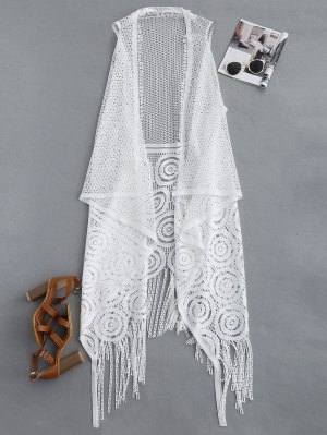 Fringed Open Front Beach Cover Up - White