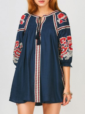 Oversized Floral Bordado Smock Dress - Azul Purpúreo