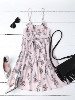 Floral Print Flounced Beach Dress - Pink