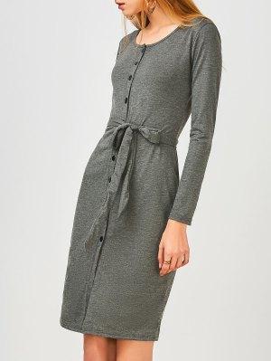 Long Sleeve Button Up Slit Sheath Dress - Deep Gray