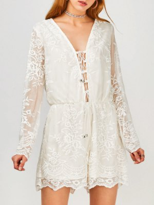 Long Sleeve Lace Up Plunge Lace Romper - White