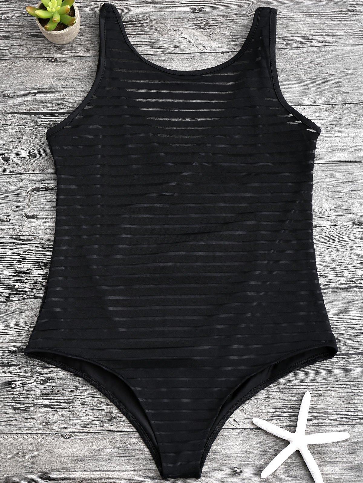 Sheer Stripe Slimming One Piece Swimsuit 211634801