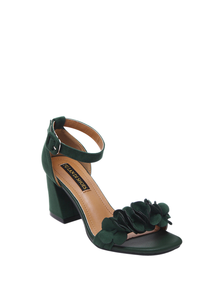 Block Heel Ankle Strap Flowers Sandals, Blackish green