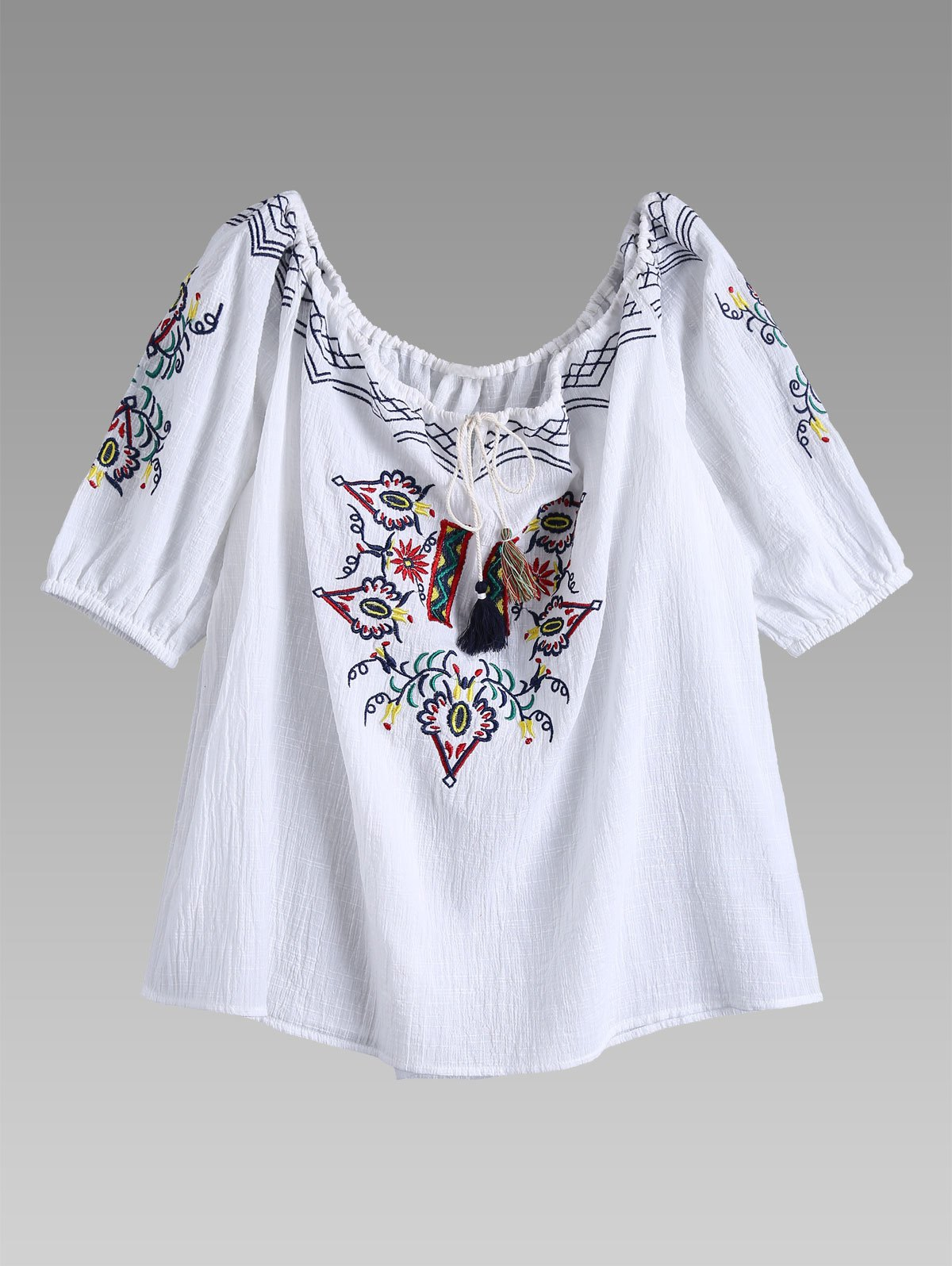 Off Shoulder Drawstring Neck Embroidered Linen Top - WHITE M