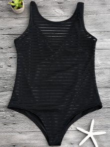 Sheer Stripe Slimming One Piece Swimsuit - Black L
