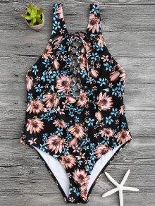 Floral Print Lace Up One Piece Swimsuit - Black Xl