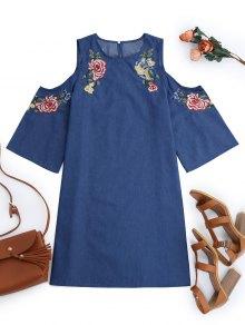 Embroidered Cold Shoulder Mini Dress - Denim Blue