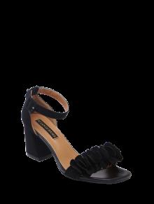 Block Heel Ankle Strap Flowers Sandals - Black 39