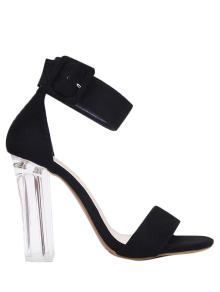 Flock Ankle Strap Crystal Heel Sandals - Black 37