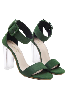 Flock Ankle Strap Crystal Heel Sandals - Green 38
