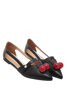 Hollow Out Cherry Faux Leather Flat Shoes - Black 37