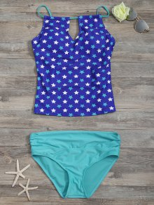 High Waisted Pentagram Print Keyhole Tankini Set
