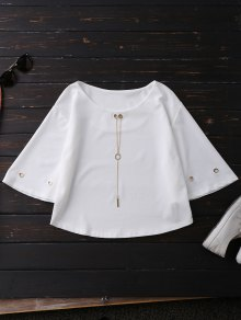 Oversized Flare Sleeve Top With Chain - White