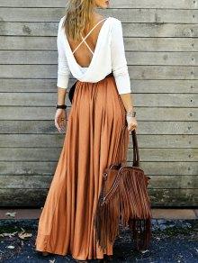 تنورة متشابكة طويلة و متن التمزيق  - البرتقالي L