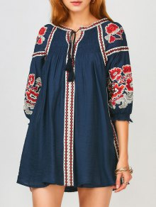 Oversized Floral Embroidered Smock Dress