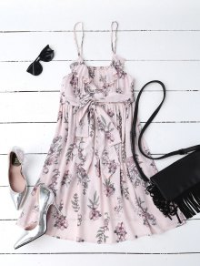 Floral Print Flounced Beach Dress