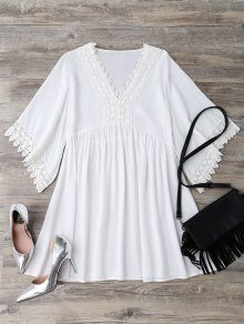 Casual Lace Trim Straight Dress