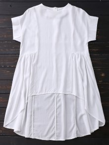 High Low Skirted Flowy Top - White L