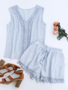 Lace Insert Tank Top And Drawstring Shorts - Light Blue L
