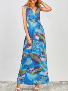 Plunge Sleeveless Printed Holiday Maxi Dress