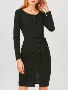Long Sleeve Button Up Slit Sheath Dress