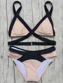 Patchwork Bandage Bikini Set