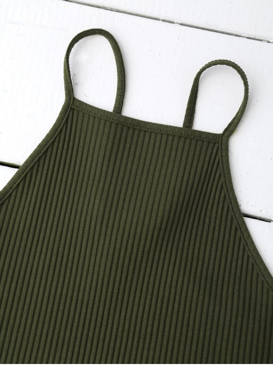 Spaghetti Straps Strappy Tank Top - BLACKISH GREEN S Mobile