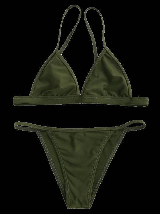 Tiny Unlined String Bikini Swimwear - ARMY GREEN M Mobile