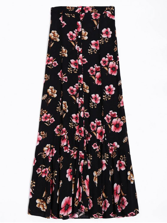 outfit Button Up Floral A-Line Skirt - BLACK S