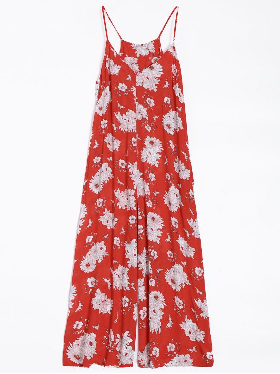 ladies Flower Wide Leg Jumpsuit - RED S