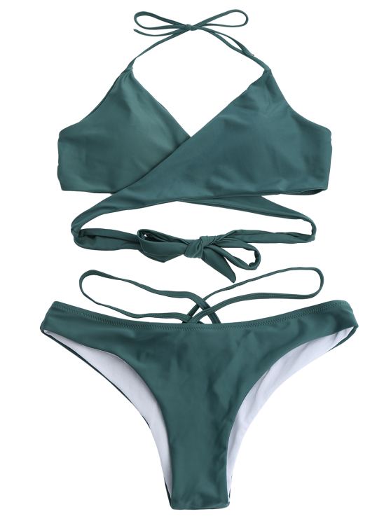 Double Side Crossover Bikini Swimwear - BLACKISH GREEN L Mobile