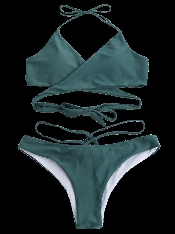 Double Side Crossover Bikini Swimwear - BLACKISH GREEN M Mobile