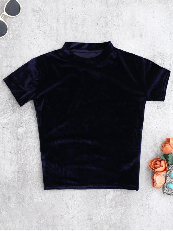 Camiseta con cuello de tripleta de terciopelo - Teal S