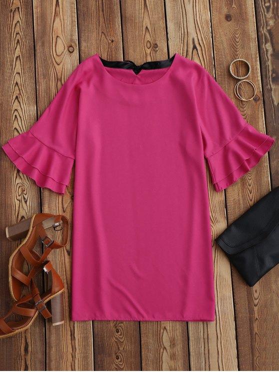 Frilled Sleeve Mini Shift Dress - ROSE MADDER XL Mobile