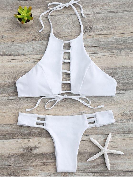 Ladder Cutout Halter Bathing Suit - WHITE L Mobile